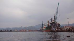 Τα μεγάλα φορτηγά πλοία είναι στην εκφόρτωση στο θαλάσσιο λιμένα Γερανοί για το φορτίο και εμπορευματοκιβώτια που παραδίδονται θα φιλμ μικρού μήκους