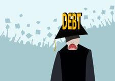 Τα μεγάλα χρέη για την εκπαίδευση, μια ακριβή πανεπιστημιακή εκπαίδευση δεν είναι διαθέσιμα απεικόνιση αποθεμάτων