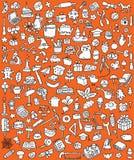 Μεγάλα εικονίδια Doodle καθορισμένα Στοκ Φωτογραφίες