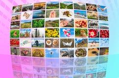 Τα μεγάλα πολυμέσα μεταδίδουν ραδιοφωνικά τον τηλεοπτικό τοίχο Στοκ εικόνες με δικαίωμα ελεύθερης χρήσης