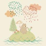 Τα μειωμένα κινούμενα σχέδια κρητιδογραφιών βροχής ελεύθερη απεικόνιση δικαιώματος