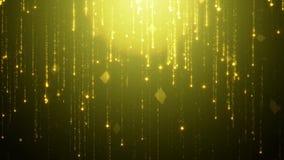 Τα μειωμένα χρυσά μόρια περιστρέφονται το τρεμούλιασμα και shimmer σε ένα μαύρο κλίμα Αφηρημένο υπόβαθρο για το glamor μόδας απεικόνιση αποθεμάτων