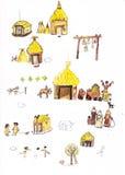 Τα μεσαιωνικά σπίτια δίνουν τη συρμένη έγχρωμη εικονογράφηση, μέρος του μεσαιωνικού συνόλου σειράς Στοκ εικόνες με δικαίωμα ελεύθερης χρήσης