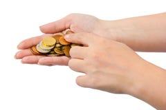 τα μετρώντας χέρια περιοχής απομόνωσαν τα μεγάλα χρήματα πέρα από το λευκό κειμένων σας Στοκ Φωτογραφία