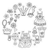 Τα μικρά συρμένα doodle χέρι στοιχεία πριγκηπισσών μου Στοκ Εικόνα