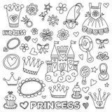 Τα μικρά συρμένα doodle χέρι στοιχεία πριγκηπισσών μου Στοκ εικόνα με δικαίωμα ελεύθερης χρήσης