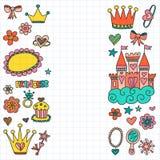 Τα μικρά συρμένα doodle χέρι στοιχεία πριγκηπισσών μου Στοκ Φωτογραφίες