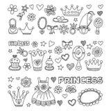 Τα μικρά συρμένα doodle χέρι στοιχεία πριγκηπισσών μου Στοκ Εικόνες