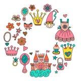 Τα μικρά συρμένα doodle χέρι στοιχεία πριγκηπισσών μου Στοκ Φωτογραφία