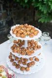 Τα μικρά eclairs χύθηκαν πέρα από το συμπυκνωμένο γάλα σε έναν δίσκο Γαμήλιο υπαίθριο συμπόσιο Στοκ Φωτογραφίες