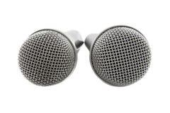 τα μικρόφωνα ασημώνουν δύο Στοκ Εικόνες