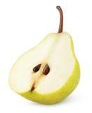 Τα μισά από τα κίτρινα φρούτα αχλαδιών που απομονώνεται στο λευκό Στοκ Εικόνα
