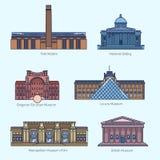 Τα μνημεία λεπταίνουν τα διανυσματικά εικονίδια γραμμών Στοκ φωτογραφία με δικαίωμα ελεύθερης χρήσης