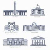 Τα μνημεία λεπταίνουν τα διανυσματικά εικονίδια γραμμών Στοκ εικόνα με δικαίωμα ελεύθερης χρήσης
