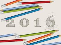 Τα μολύβια και το κείμενο του 2016 Στοκ Φωτογραφίες