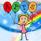 Τα μπαλόνια Apps αντιπροσωπεύουν τη νέα γυναίκα και τα παιδιά Στοκ φωτογραφία με δικαίωμα ελεύθερης χρήσης