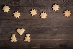 Τα μπισκότα αντέχουν, καρδιά, και αστέρια Στοκ Εικόνες