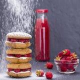 Τα μπισκότα βρωμών με το σμέουρο, το μέλι, το μαλακό τυρί και τον ακατέργαστο κόκκινου χυμό σμέουρων και στο μπουκάλι γυαλιού, κλ στοκ εικόνα με δικαίωμα ελεύθερης χρήσης