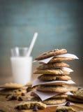 τα μπισκότα καφέ σοκολάτας τσιπ κοιλαίνουν το σπιτικό απομονωμένο λευκό Στοκ Εικόνες