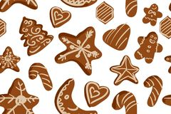 Τα μπισκότα μελοψωμάτων δίνουν το συρμένο υπόβαθρο επίσης corel σύρετε το διάνυσμα απεικόνισης Στοκ εικόνα με δικαίωμα ελεύθερης χρήσης