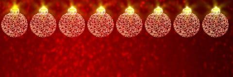Τα μπιχλιμπίδια Χριστουγέννων στο κόκκινο το υπόβαθρο απεικόνιση αποθεμάτων
