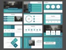 Τα μπλε αφηρημένα πρότυπα παρουσίασης, επίπεδο σχέδιο προτύπων στοιχείων Infographic θέτουν για το φυλλάδιο ιπτάμενων φυλλάδιων ε Στοκ Εικόνα