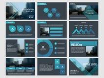 Τα μπλε αφηρημένα πρότυπα παρουσίασης, επίπεδο σχέδιο προτύπων στοιχείων Infographic θέτουν για το φυλλάδιο ιπτάμενων φυλλάδιων ε Στοκ Φωτογραφία