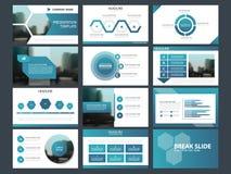 Τα μπλε αφηρημένα πρότυπα παρουσίασης, επίπεδο σχέδιο προτύπων στοιχείων Infographic θέτουν για το φυλλάδιο ιπτάμενων φυλλάδιων ε απεικόνιση αποθεμάτων