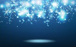 Τα μπλε μαγικά αστέρια πυροβολισμού που πέφτουν, χειμερινή εποχή, αστέρια εκρήγνυνται το κομφετί, snowflakes και τις κορδέλλες, ε διανυσματική απεικόνιση