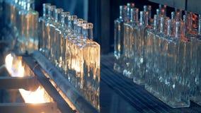 Τα μπουκάλια γυαλιού κινούνται κατά μήκος της αυτοματοποιημένης ζώνης μεταφορέων και παίρνουν μμένα φιλμ μικρού μήκους