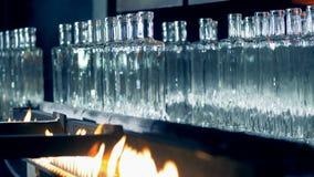 Τα μπουκάλια παίρνουν μμένα και αφαιρούμενα προσεκτικά από το μεταφορέα από έναν αυτοματοποιημένο Τύπο φιλμ μικρού μήκους