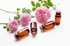 Τα μπουκάλια του ουσιαστικού ροδαλού πετρελαίου για aromatherapy, Huntington αυξήθηκαν Στοκ φωτογραφία με δικαίωμα ελεύθερης χρήσης