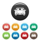 Τα μπροστινά εικονίδια αυτοκινήτων καθορισμένα το χρώμα απεικόνιση αποθεμάτων