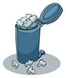 Τα μπλε απόβλητα μετάλλων ανακύκλωσης μπορούν Στοκ Εικόνες