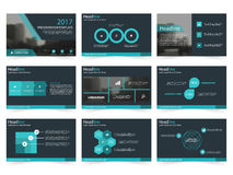 Τα μπλε αφηρημένα πρότυπα παρουσίασης, επίπεδο σχέδιο προτύπων στοιχείων Infographic θέτουν για το φυλλάδιο ιπτάμενων φυλλάδιων ε διανυσματική απεικόνιση