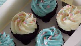 Τα μπλε cupcakes, κιβώτια κοσμήματος αεροσκαφών γενεθλίων μωρών διακοπών παιδιών καλύπτουν τη μαστίχα κέικ, muffins, σχέδιο, ιδέα απόθεμα βίντεο