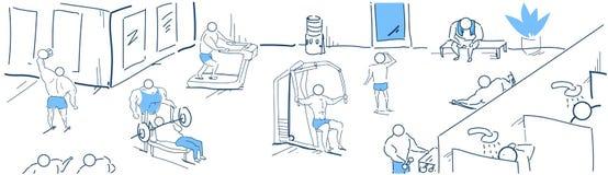 Τα μυϊκά bodybuilders που εκπαιδεύουν τους προσομοιωτές ποικιλομορφίας δύναμης γυμναστικής workout ασκούν το έμβλημα σκίτσων έννο διανυσματική απεικόνιση