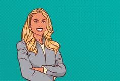 Τα νέα διπλωμένα επιχειρηματίας χέρια θέτουν επιχειρησιακών γυναικών χαμόγελου το θηλυκό χαρακτήρα κινουμένων σχεδίων ύφος τέχνης απεικόνιση αποθεμάτων