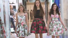 Τα νέα ελκυστικά κορίτσια που έχουν τη διασκέδαση πηγαίνουν εμπορικό κέντρο στοών απόθεμα βίντεο