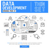 Τα νέα σύγχρονα λεπτά εικονίδια γραμμών καθορισμένα την ανάλυση στοιχείων ανάπτυξης Στοκ εικόνα με δικαίωμα ελεύθερης χρήσης