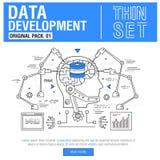 Τα νέα σύγχρονα λεπτά εικονίδια γραμμών καθορισμένα την ανάλυση στοιχείων ανάπτυξης Στοκ Εικόνες