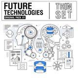 Τα νέα σύγχρονα λεπτά εικονίδια γραμμών καθορισμένα την τεχνολογία του μέλλοντος Στοκ Εικόνα