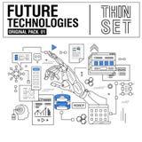 Τα νέα σύγχρονα λεπτά εικονίδια γραμμών καθορισμένα την τεχνολογία του μέλλοντος Στοκ Εικόνες