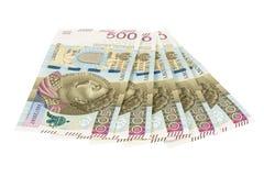 Τα νέα τραπεζογραμμάτια 500 γυαλίζουν zloty στο άσπρο υπόβαθρο Στοκ Εικόνες