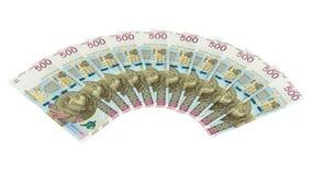 Τα νέα τραπεζογραμμάτια 500 γυαλίζουν zloty στο άσπρο υπόβαθρο Στοκ εικόνα με δικαίωμα ελεύθερης χρήσης
