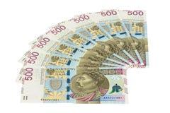 Τα νέα τραπεζογραμμάτια 500 γυαλίζουν zloty στο άσπρο υπόβαθρο Στοκ φωτογραφίες με δικαίωμα ελεύθερης χρήσης