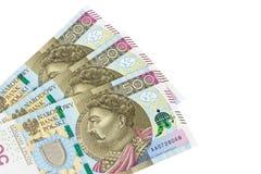 Τα νέα τραπεζογραμμάτια 500 γυαλίζουν zloty στο άσπρο υπόβαθρο Στοκ Φωτογραφίες
