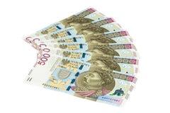 Τα νέα τραπεζογραμμάτια 500 γυαλίζουν zloty στο άσπρο υπόβαθρο Στοκ Φωτογραφία