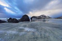 τα νησιά Όμορφο τοπίο άνοιξη της Νορβηγίας Στοκ Εικόνες