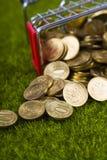 Τα νομίσματα έχυσαν έξω στο χορτοτάπητα Στοκ εικόνα με δικαίωμα ελεύθερης χρήσης